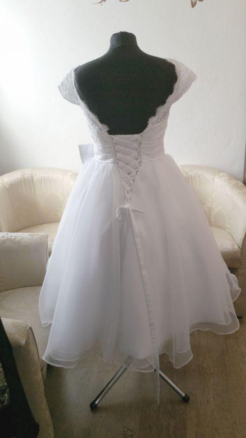 134a60197dfd retro 50´s 60 ´s krátké bílé krajkové svatební šaty - plesové šaty ...